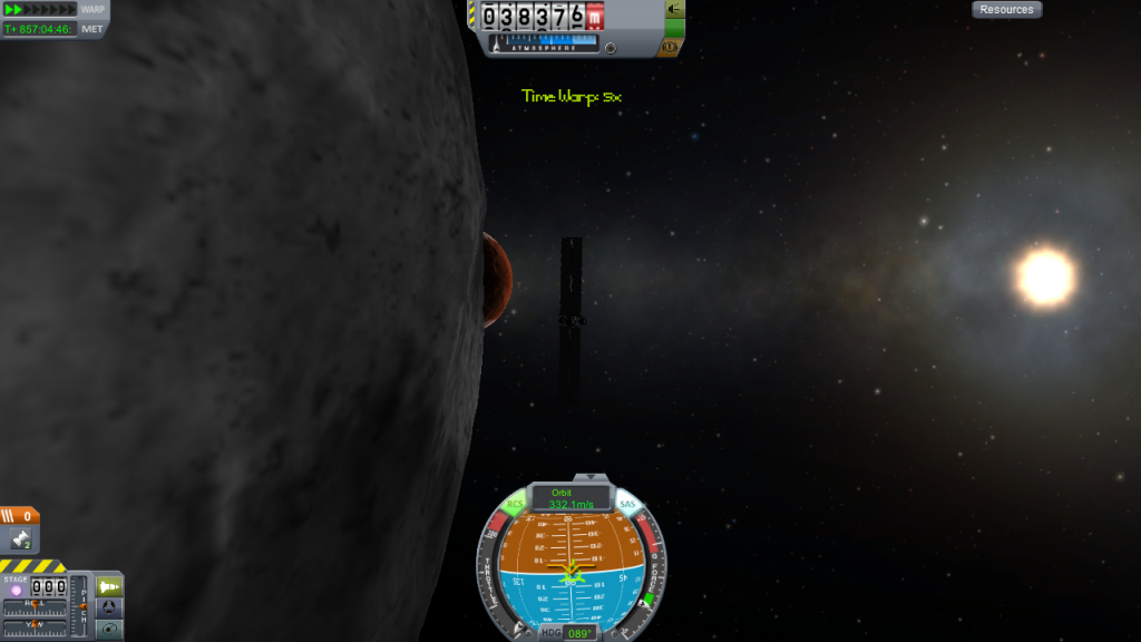 Ike, Duna, and Kerbol, seen from low-Ike orbit.