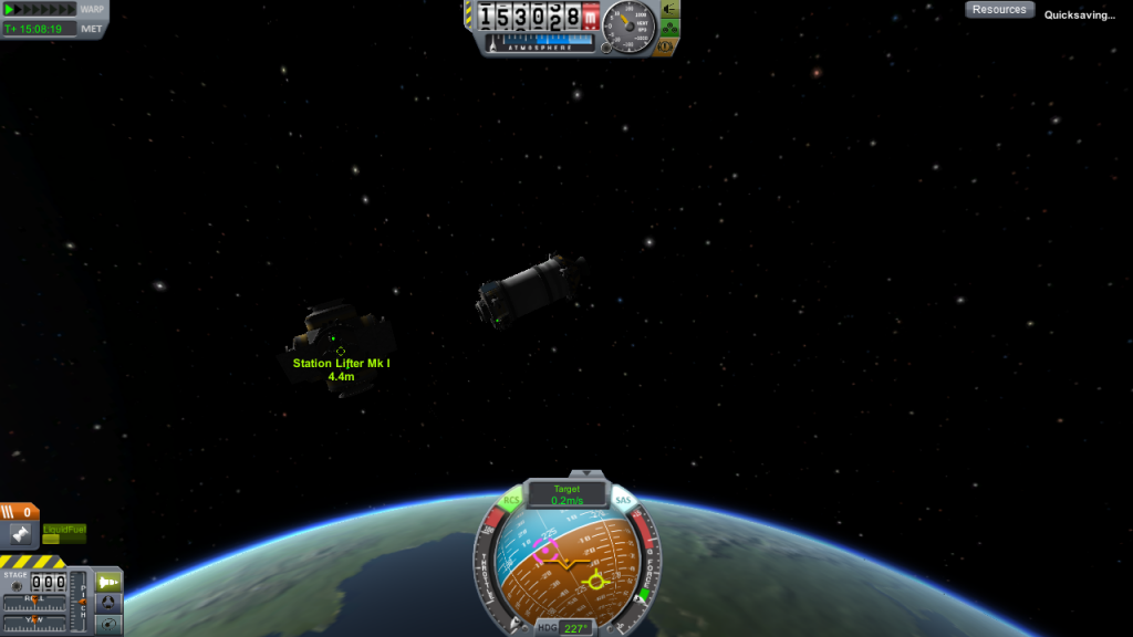 A small fuel lifter docks with a space station.